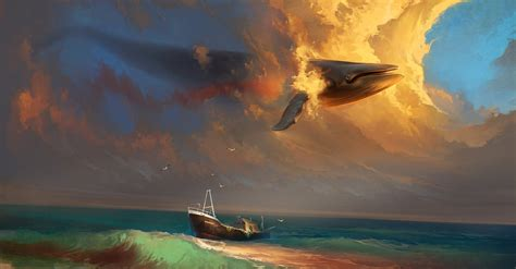 paintings clouds ships whales seagulls artwork whale sea