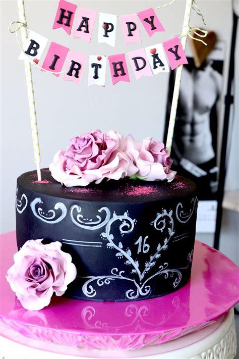 Kuchen Idee by Fondant Torte Zum 16ten Chalkboard Torte Cake Geburtstag