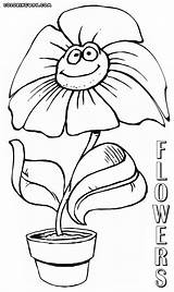 Flower Coloring Pages Smiling Flowers Colorings Coloringway sketch template