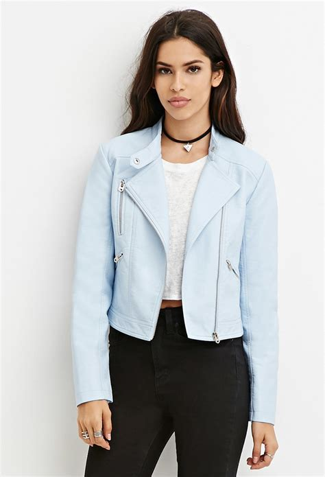 light blue leather jacket womens forever 21 faux leather moto jacket in blue lyst