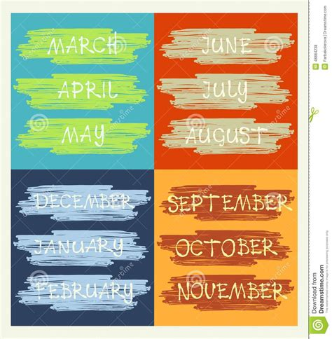 time card template word calendar months of the year handwritten text stock