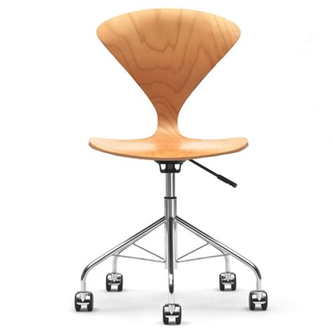 norman cherner office task chair swivel base beech