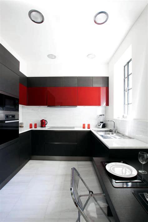 kitchen  black white  red interior design ideas