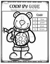 Winter Coloring Code Kindergarten Pages Number Sight Word January sketch template