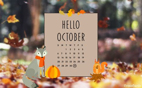 october   october desktop calendar