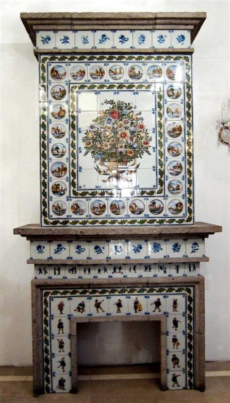 dutch tile fireplace mantel   royal tichelaar