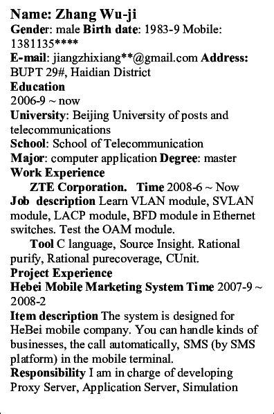 chinese resume sample ipasphoto