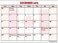 December 2018 Calendar Canada Printable Letter Template