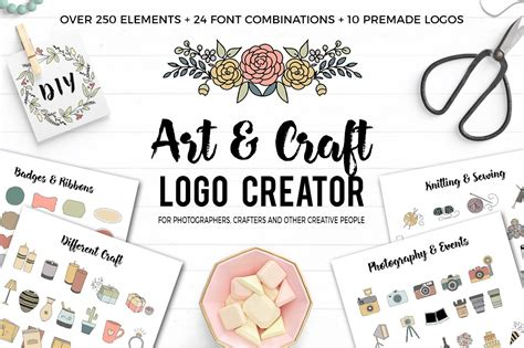art  craft logo creator logo templates creative market