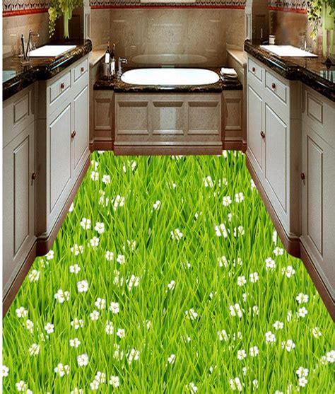 pvc wallpaper lawn grass flower floor bathroom kitchen
