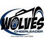 Cheerleader Clipart Wolves Loups Team Paw Megaphone