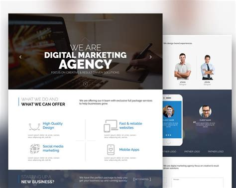 digital marketing websites free digital marketing agency website template free psd at