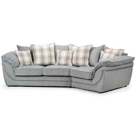 tissu canape canapé angle droit en tissu gris avec coussins chloé dya