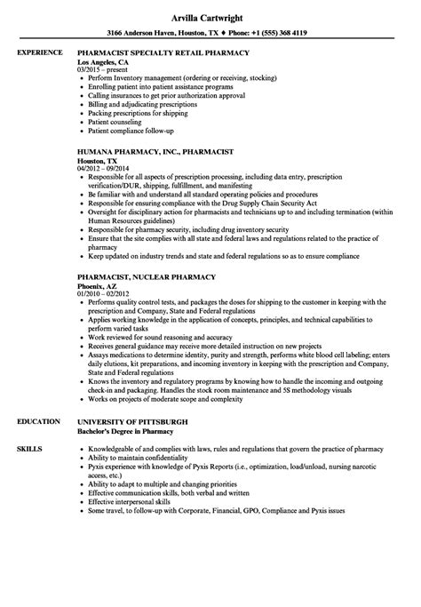 Excellent Resume Exles by 11 12 Retail Pharmacist Resume Exles