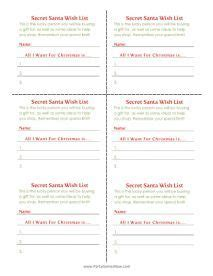 secret santa  list cards printable christmas games