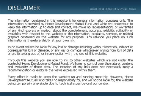 page disclaimer hdmf official site