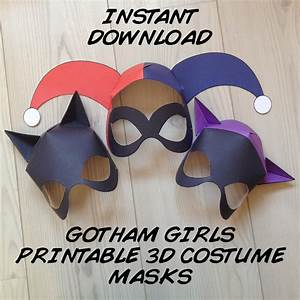 gotham girls inspired 3d printable masks instant download With harley quinn mask template