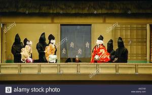 A scene from a Bunraku puppet theatre play Osaka Japan ...