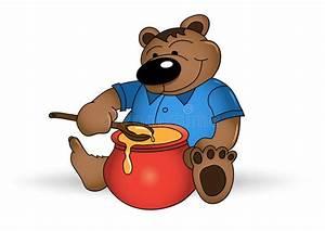 Happy bear with honey pot stock vector. Illustration of ...
