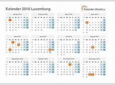 Feiertage 2018 Luxemburg Kalender & Übersicht