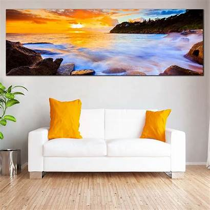 Canvas Ocean Australia Sunset Whale Yellow Rocks