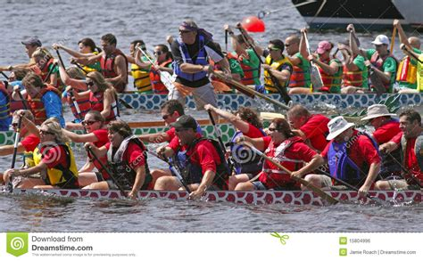 Dragon Boat Racing Team by Dragon Boat Teams Race Editorial Photo Image 15804996