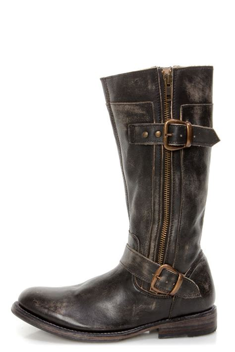 Bed Stu Gogo Boots by Bed Stu Gogo Black Wash Leather Belted Boots