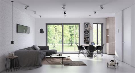 open plan living  dining room design  sleek