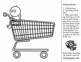 Coloring Shopping Activity Preschool Toddler Grocery Colouring Printable Basket Link Sheets Inside sketch template