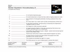 solar system vocabulary 2 worksheet for 3rd 6th grade