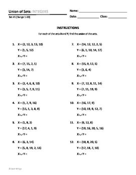 all worksheets 187 intersection and union of sets worksheets