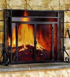 Small, Steel, Fire, Screen, With, Two, Doors, And, Tempered, Glass, Accents