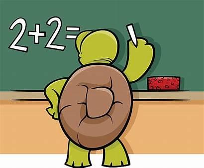 Cartoon Blackboard Math Problem Clip Schildpad Turtle