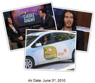 russell brand jimmy kimmel russell brand talks about driving with tom and drivers ed