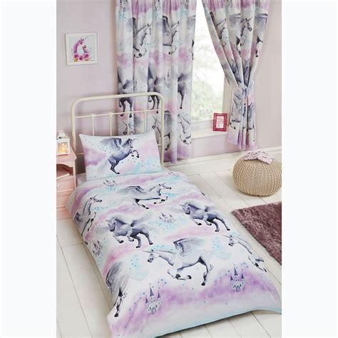 stardust unicorn purpleteal curtains duvet cover set