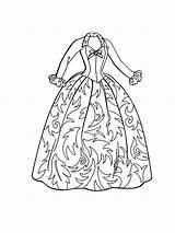 Coloring Barbie Clothes Doll Dresses Gown Ball Drawing Printable Carol Coloringsky Getdrawings Dressed Getcolorings Whitesbelfast sketch template