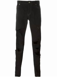 Saint laurent Ripped Slim Fit Jeans in Black for Men | Lyst