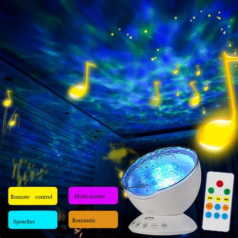 night light app with timer meaningsfull sensor touch remote control ocean projector