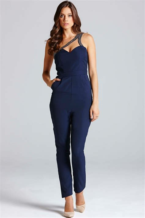 navy jumpsuit navy one shoulder cut out jumpsuit from uk