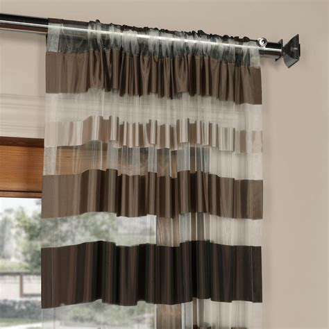 horizontal striped curtains antique bronze organza horizontal stripe sheer curtain