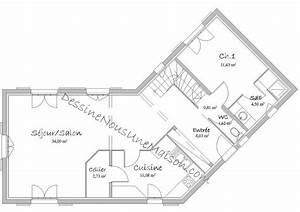 plan maison rdc 3 chambres 1 plan de maisons de plain With plan maison avec tour