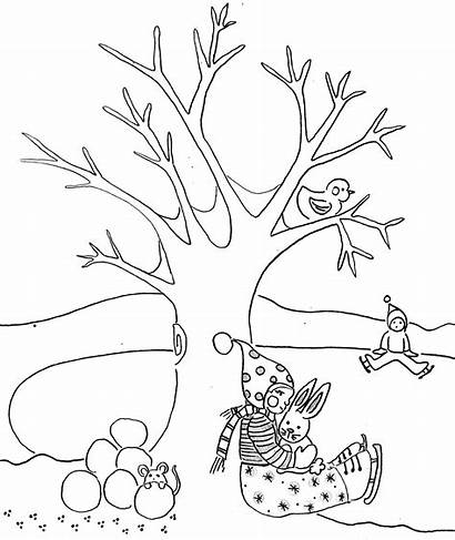 Invierno Dibujos Colorear Winter Coloring Nature Paisajes