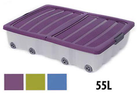 boite de rangement a roulettes sous lit 55l large sous lit plastique a roulettes boite de rangement r 233 cipient avec ebay