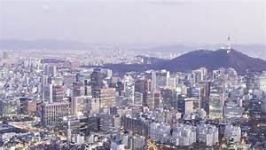 Timelapse Day To Night Skyline Of Seoul, South Korea Stock ...