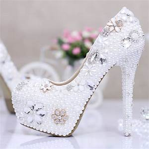 75 Size White Rhinestone Wedding Shoes 14 Cm High Heels