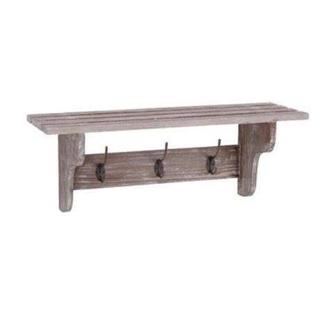 home decorators collection 9 in 3 hook wall shelf in wood