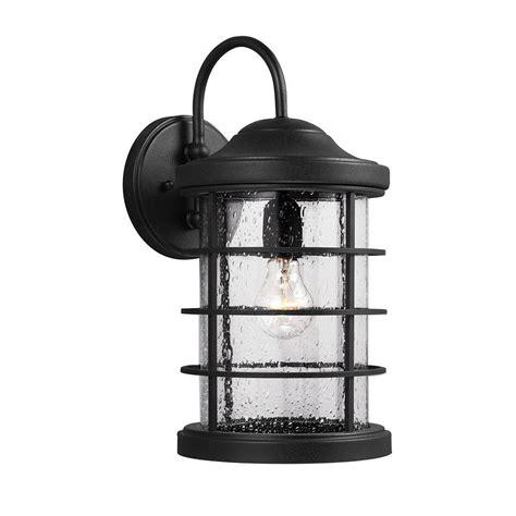 sea gull lighting sauganash 1 light outdoor black wall