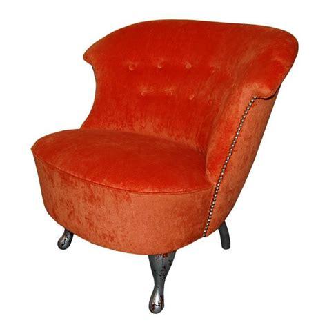 vintage swedish slipper chair in orange bamboo velvet for