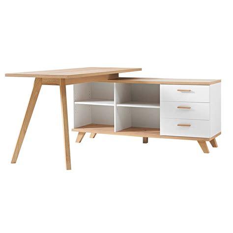 bureau avec angle bureau d 39 angle en bois avec 4 niches 3 tiroirs longueur