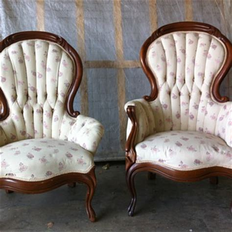 antique back his and hers chairs